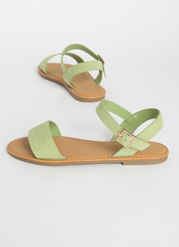 Sunny Forecast Faux Suede Sandals MINT