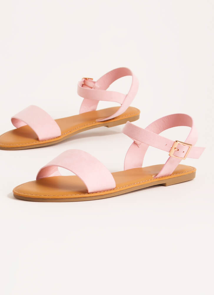 Sunny Forecast Faux Suede Sandals PINK