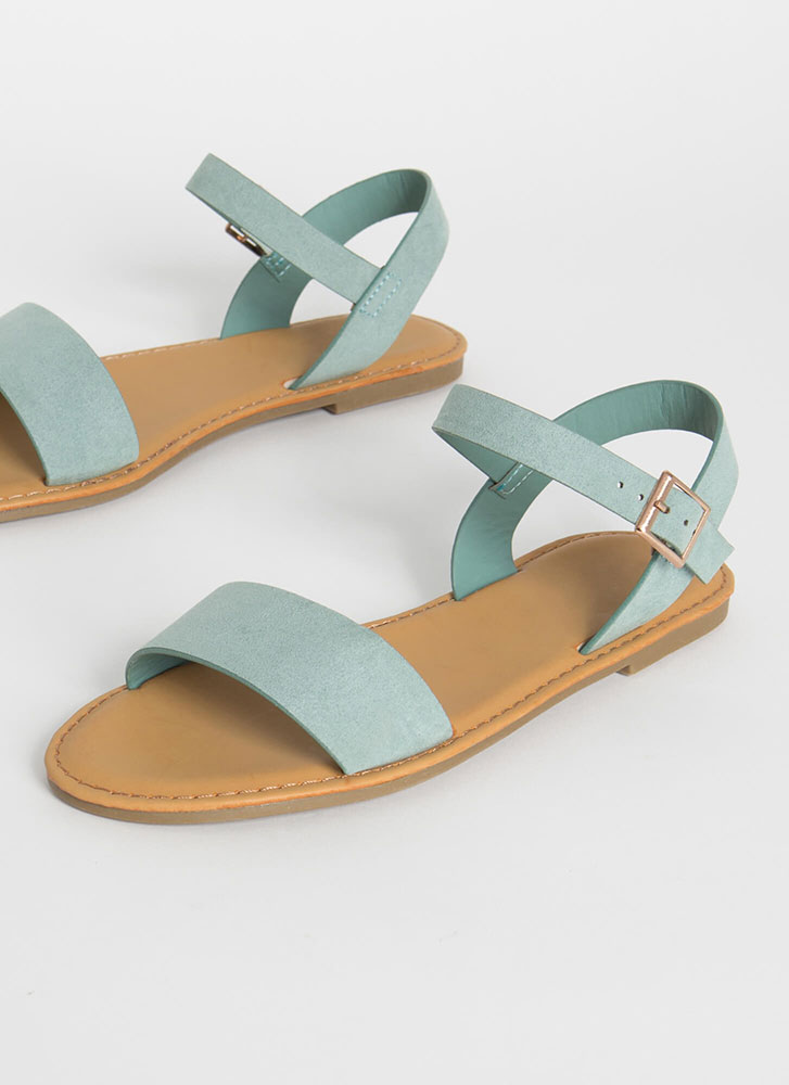 Sunny Forecast Faux Suede Sandals SAGE