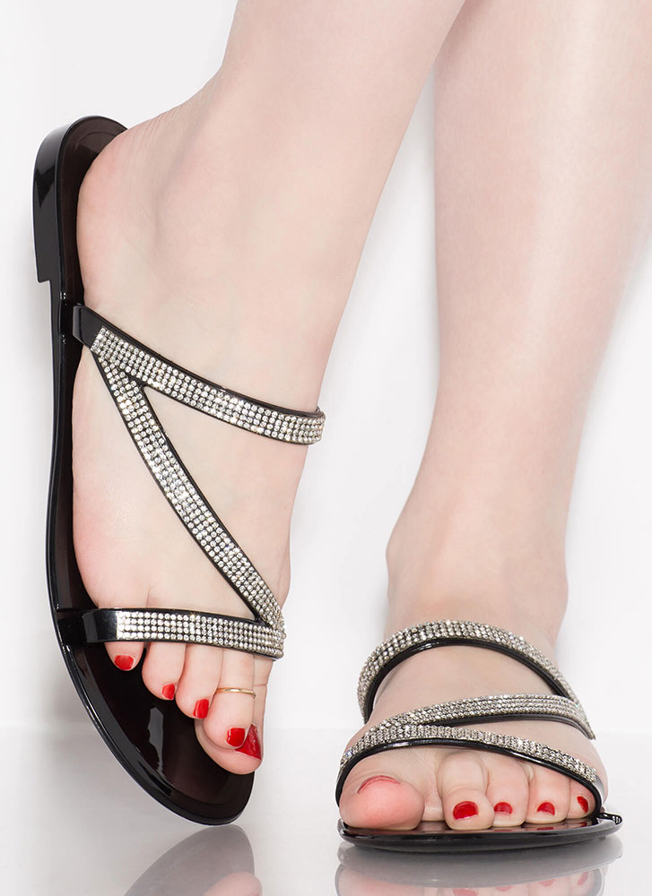 Aria Jeweled Strap Jelly Sandals BLACK