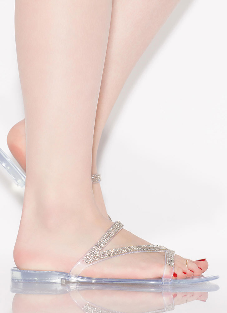 Aria Jeweled Strap Jelly Sandals CLEAR