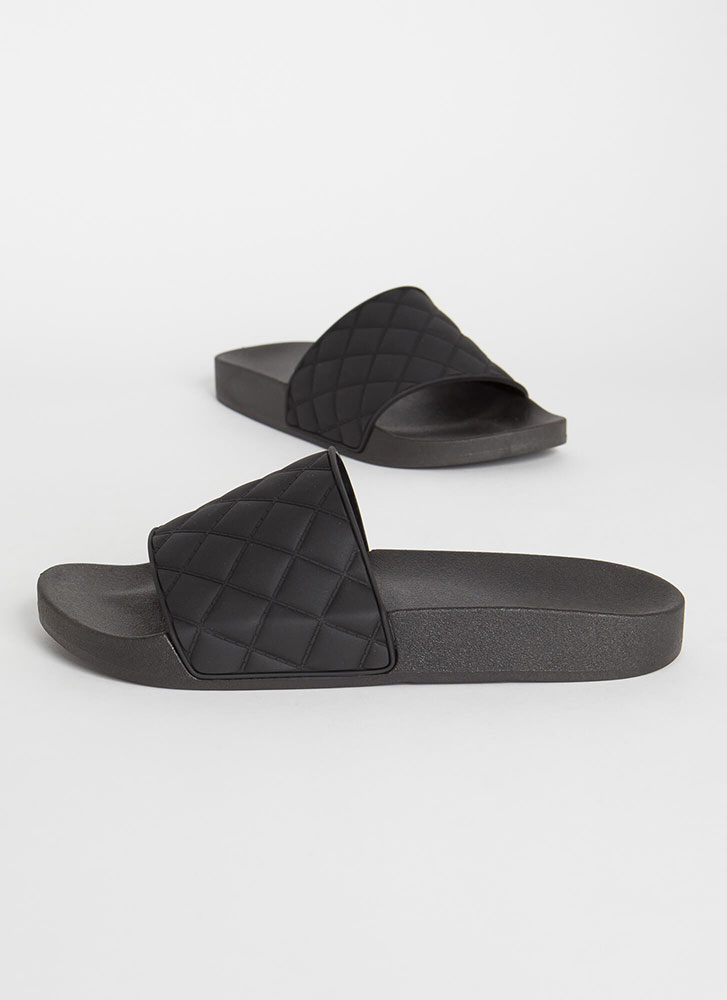 Plead Quilty Matte Jelly Slide Sandals BLACK