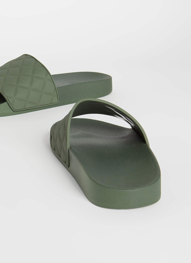 Plead Quilty Matte Jelly Slide Sandals OLIVE