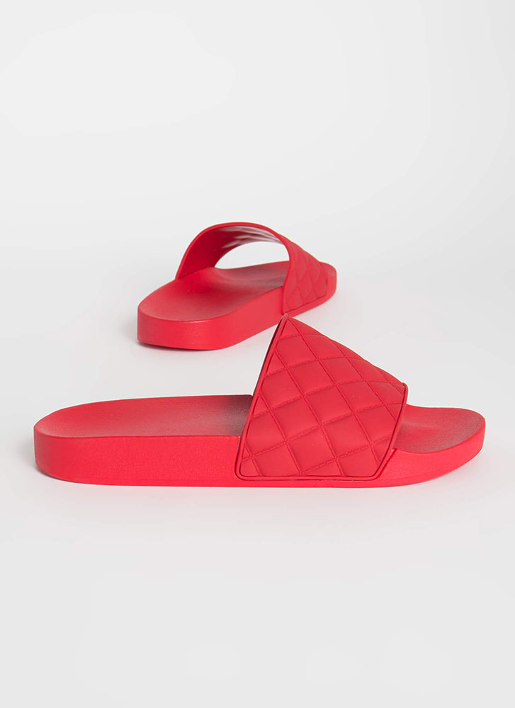Plead Quilty Matte Jelly Slide Sandals RED