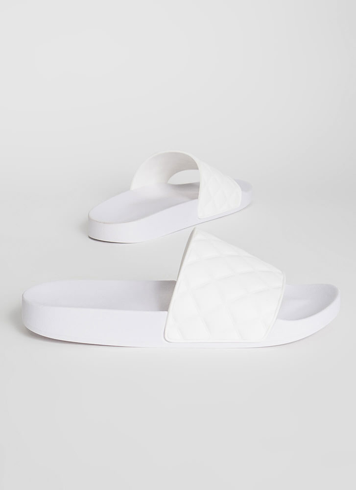 Plead Quilty Matte Jelly Slide Sandals WHITE