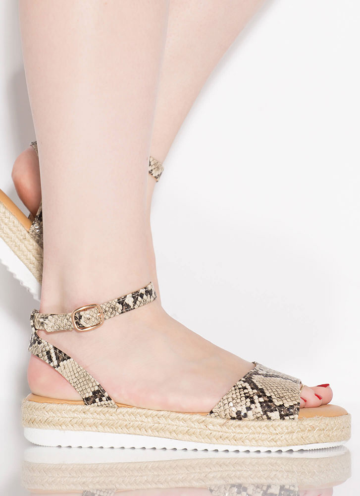 Sun's Out Braided Snake Print Sandals BEIGE