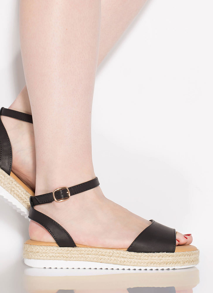 Sun's Out Braided Faux Leather Sandals BLACK