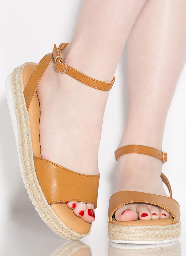 Sun's Out Braided Faux Leather Sandals TAN