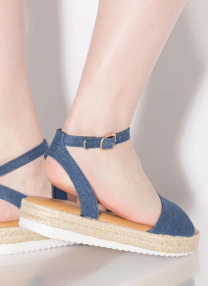 Sun's Out Braided Denim Sandals BLUE