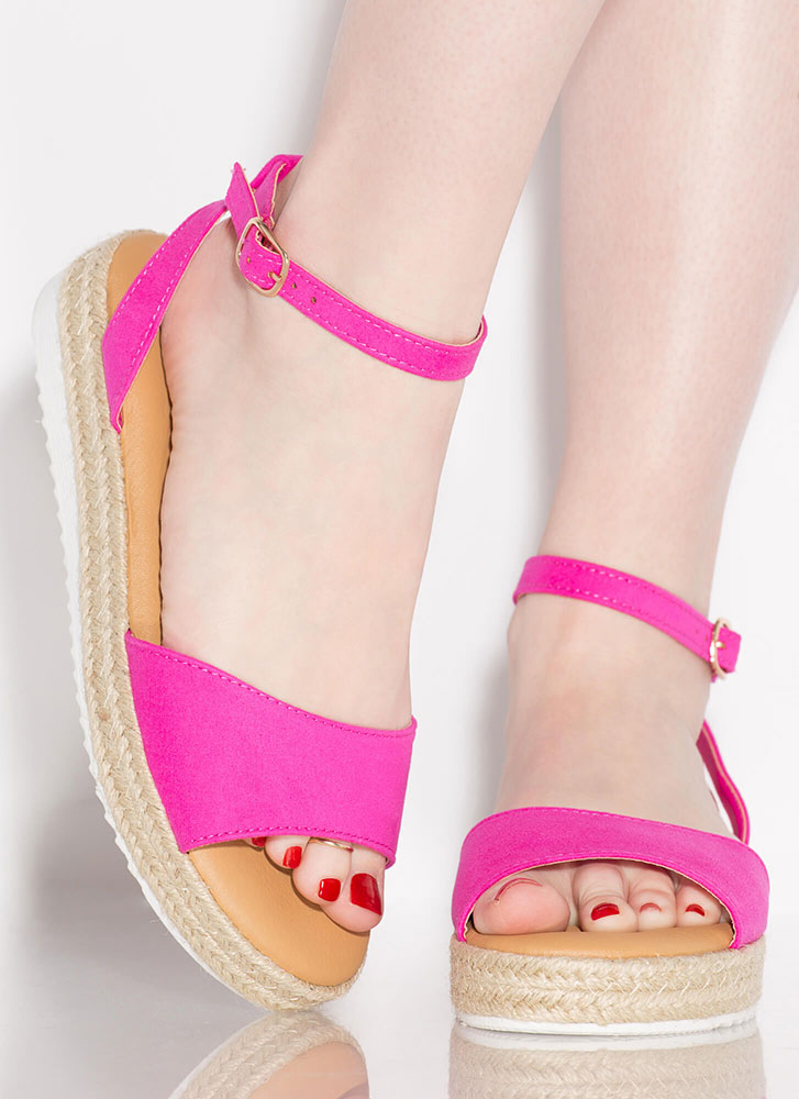 Sun's Out Braided Faux Suede Sandals HOTPINK