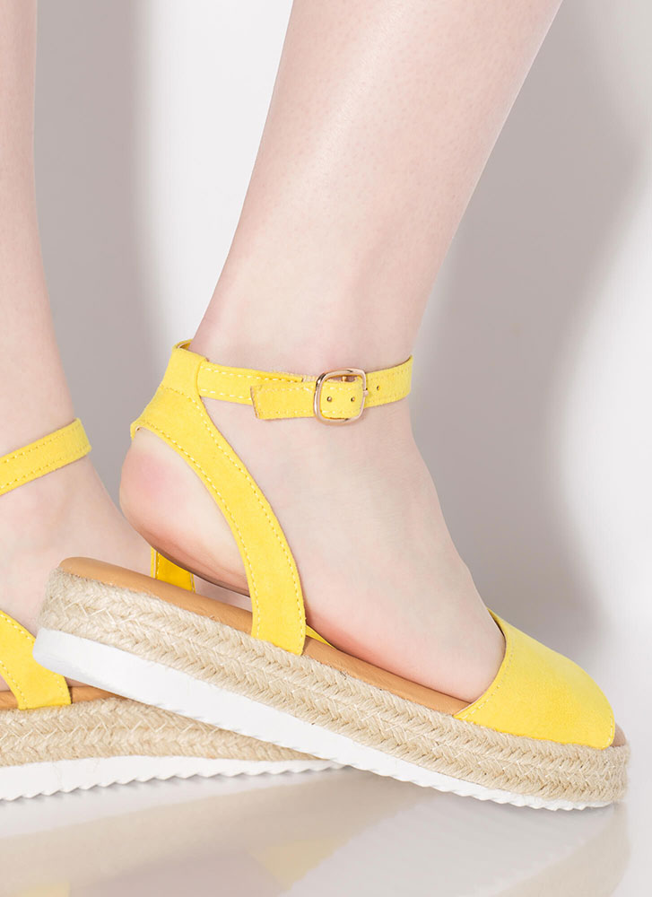 Sun's Out Braided Faux Suede Sandals YELLOW