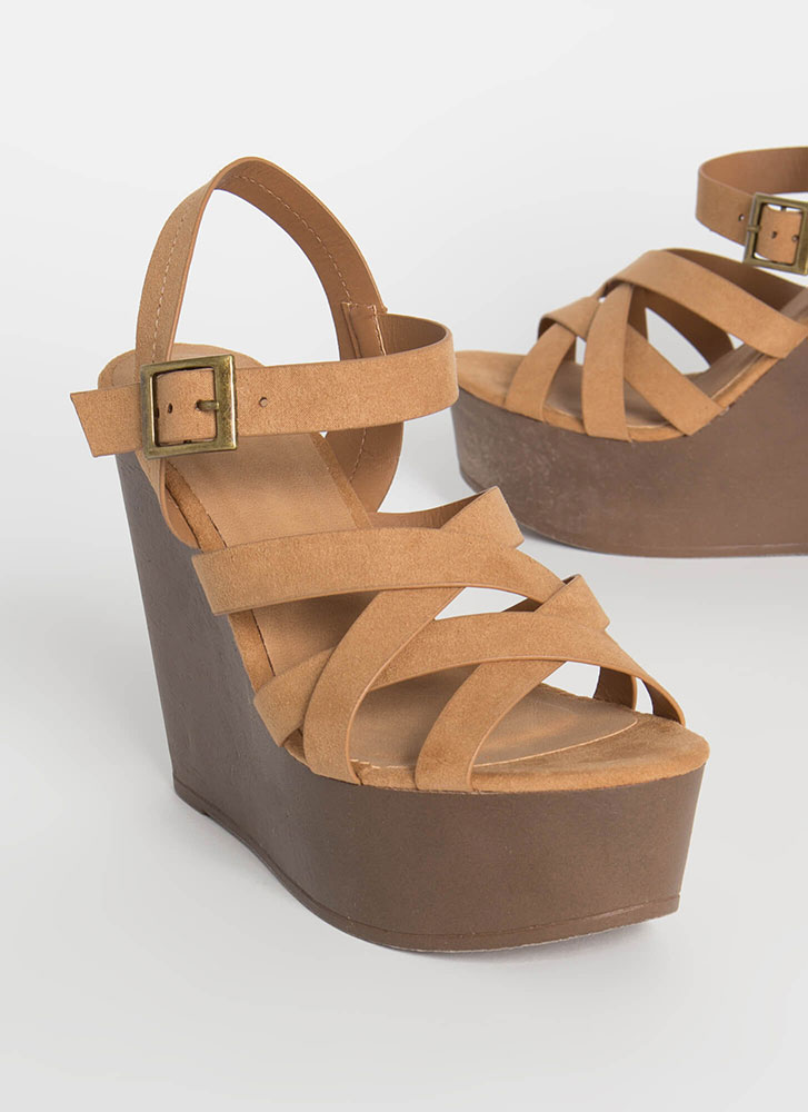 Walk In The Park Strappy Platform Wedges TAN