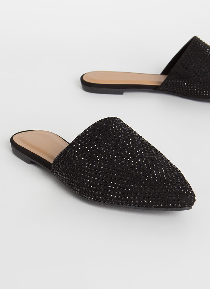 Dear Diary Jeweled Faux Suede Mule Flats BLACK