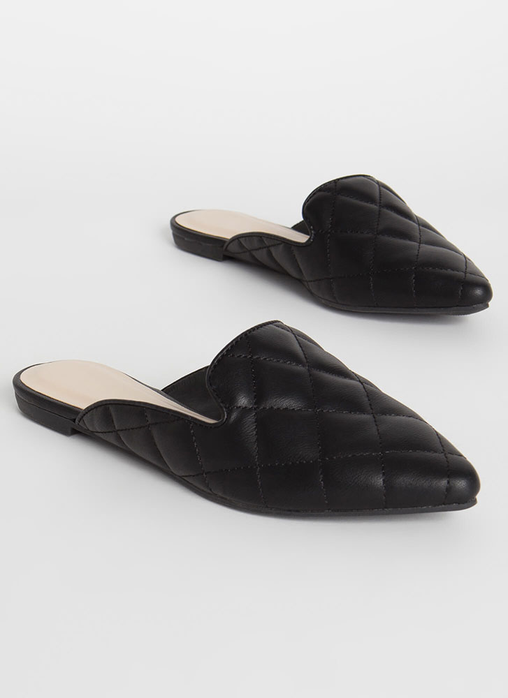 Quilty Conscience Pointy Smoking Flats BLACK
