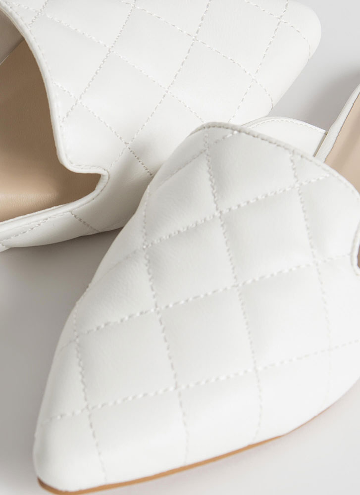 Quilty Conscience Pointy Smoking Flats WHITE