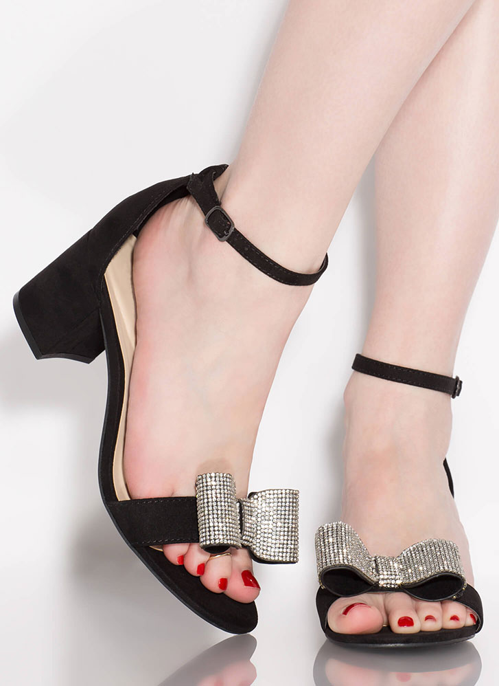 Bow Go Jeweled Faux Suede Block Heels BLACK