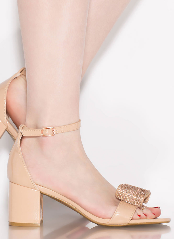 Bow Go Jeweled Faux Patent Block Heels NUDE