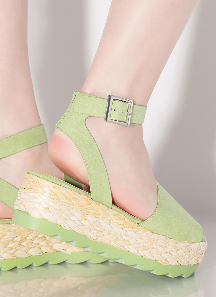 Sun Day Braided Faux Suede Sandals MINT