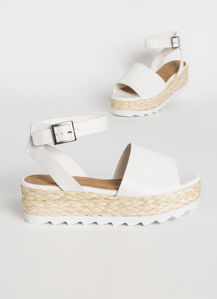 Sun Day Braided Faux Leather Sandals WHITE