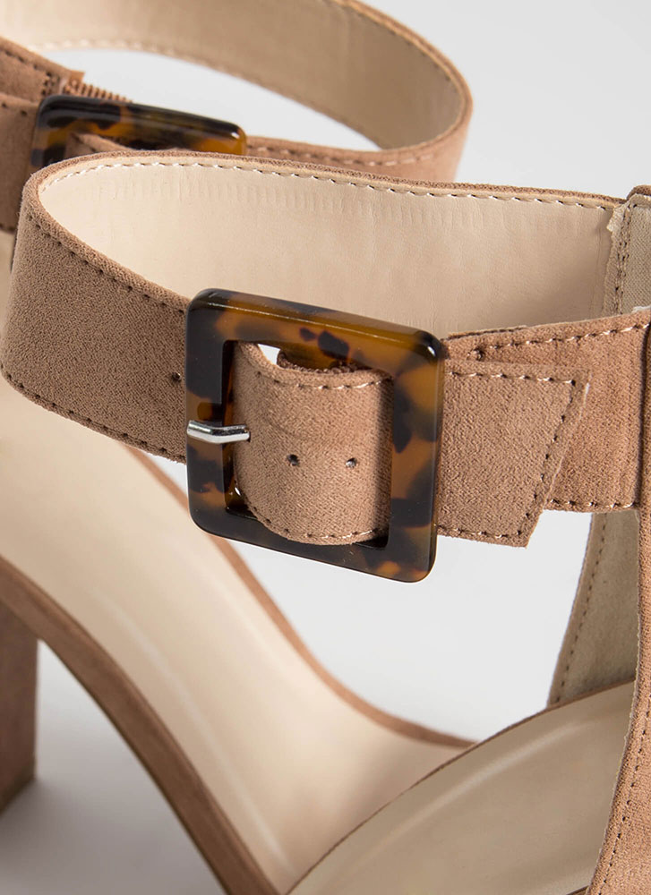 Special Chunky Tortoise Buckle Heels CAMEL