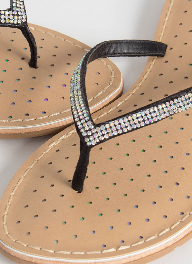 Sparkle Factor Jeweled Thong Sandals BLACK