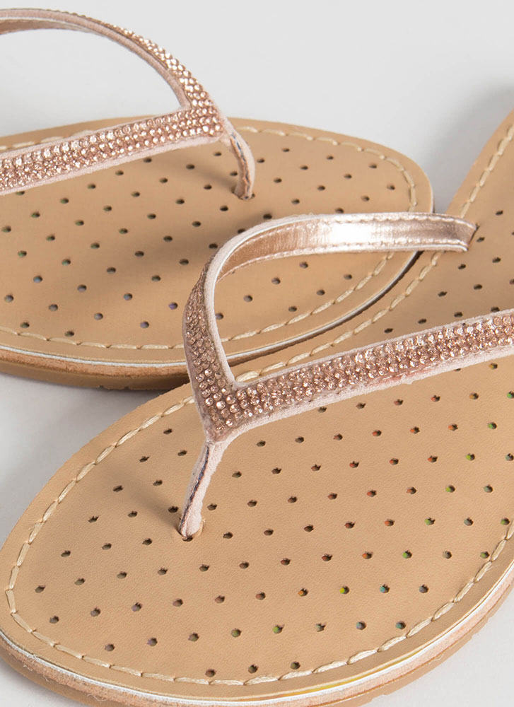 Sparkle Factor Jeweled Thong Sandals ROSEGOLD