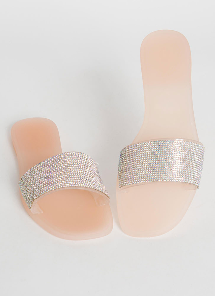 Sparkly Pool Jeweled Jelly Slide Sandals NUDE