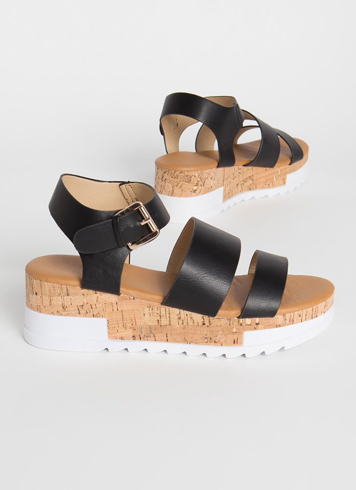 Weekender Faux Leather Wedge Sandals BLACK