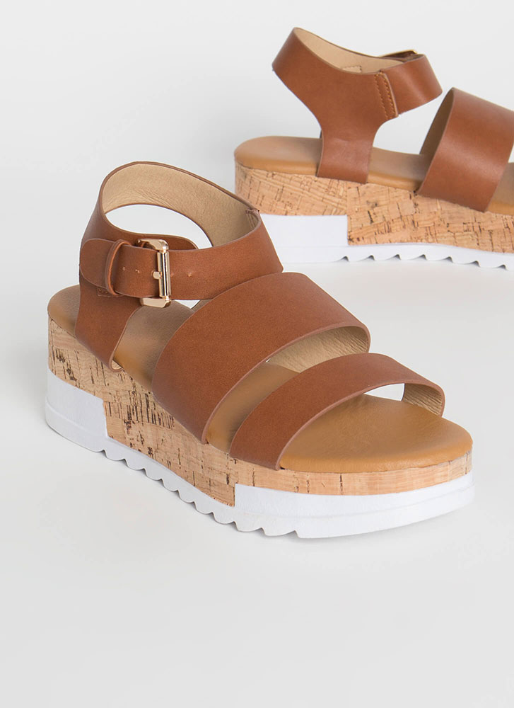 Weekender Faux Leather Wedge Sandals COGNAC