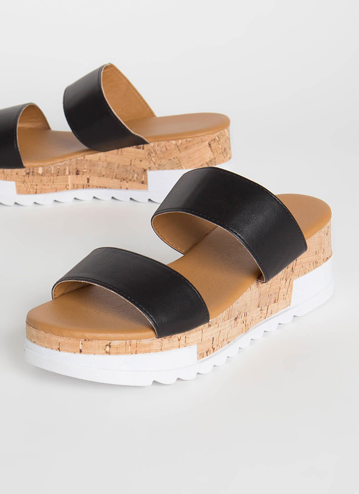 Slide Into My DM's Sporty Wedge Sandals BLACK