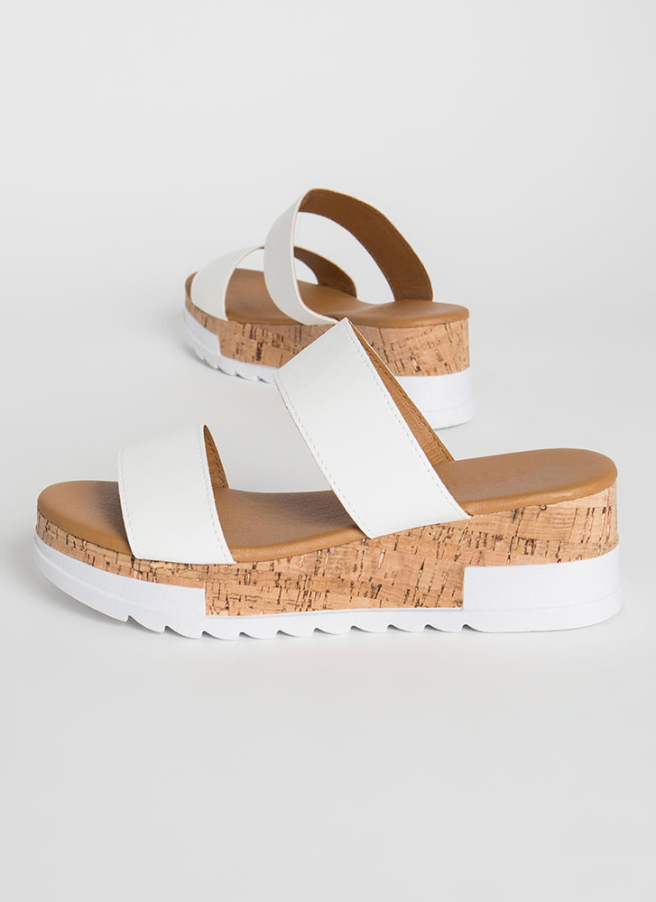 Slide Into My DM's Sporty Wedge Sandals WHITE