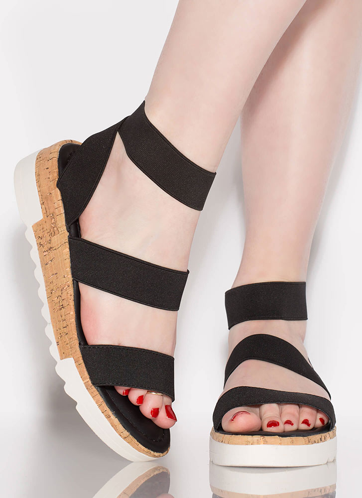 You're Gonna Be Band Strappy Sandals BLACK