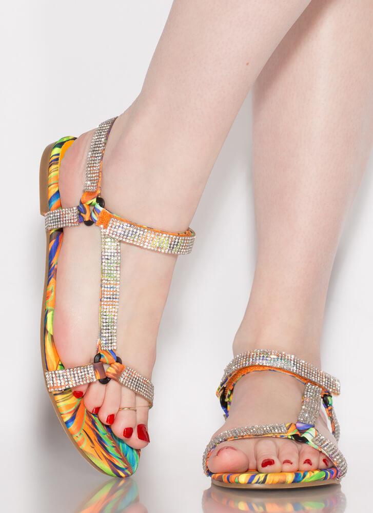 Harness It Jeweled Tropical Sandals MULTI