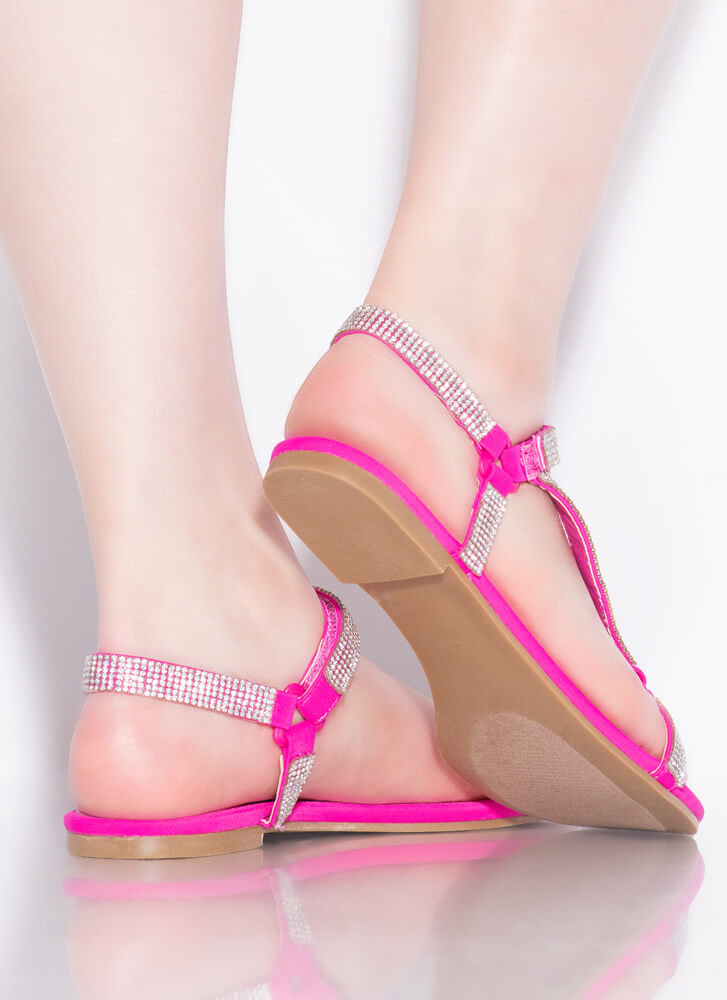 Harness It Jeweled Strappy Sandals MAGENTA
