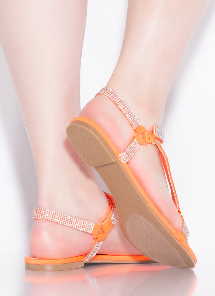 Harness It Jeweled Strappy Sandals ORANGE