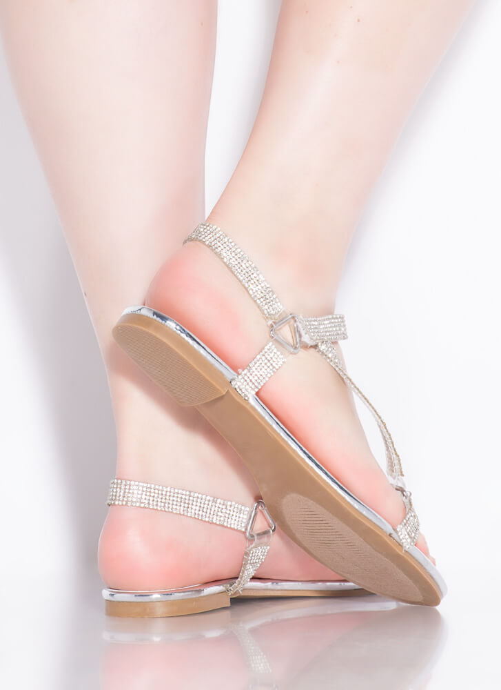 Harness It Jeweled Strappy Sandals SILVER