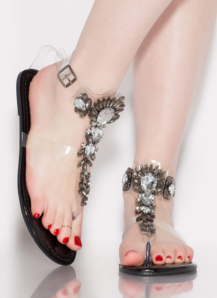 Glamour Jeweled Clear Strap Sandals BLACK