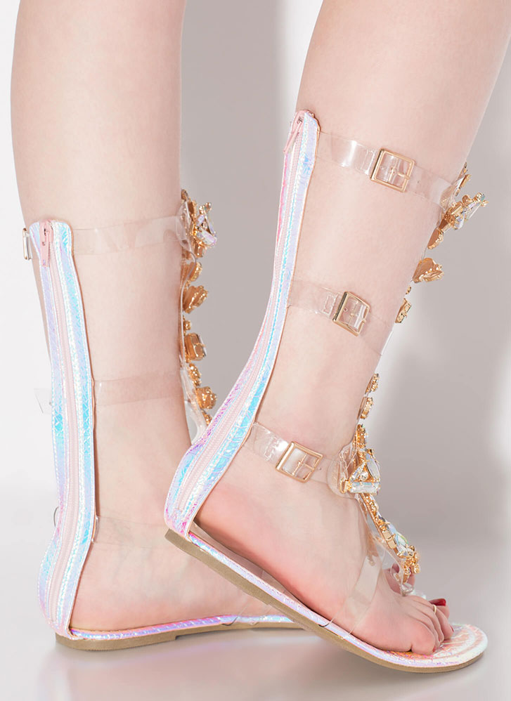 Clear Winner Faux Gem Gladiator Sandals PINK
