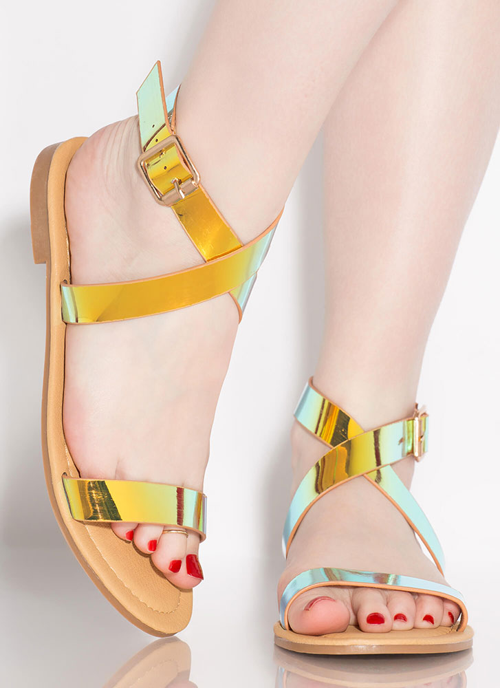 Shine Away Strappy Iridescent Sandals GOLD