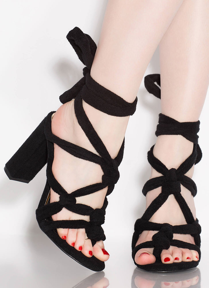 Pardon My French Terry Lace-Up Heels BLACK