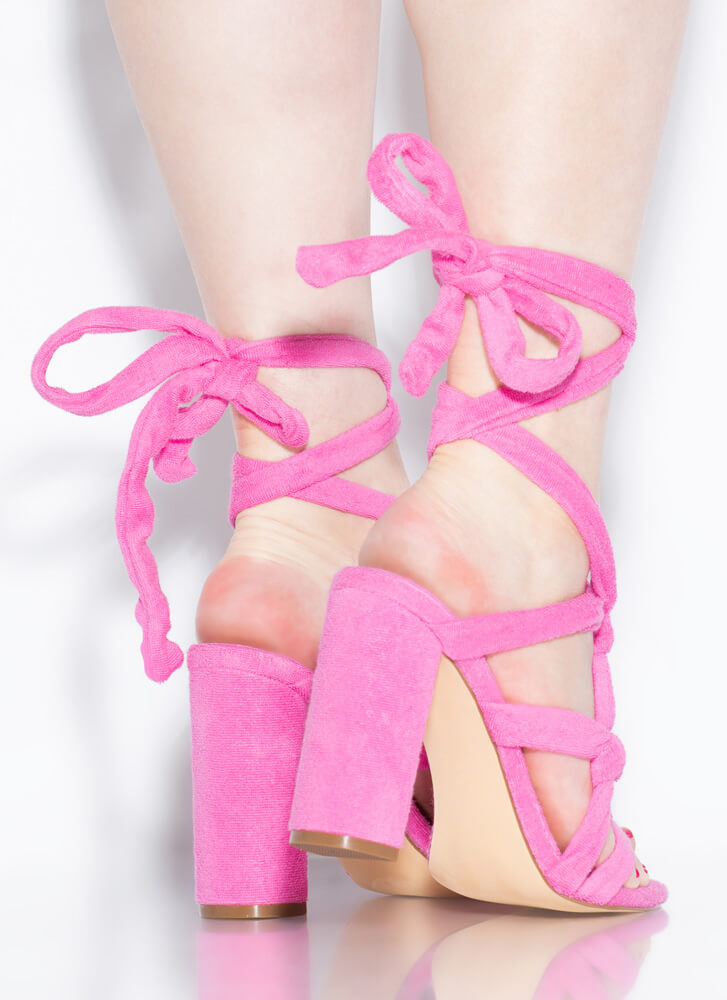 Pardon My French Terry Lace-Up Heels PINK