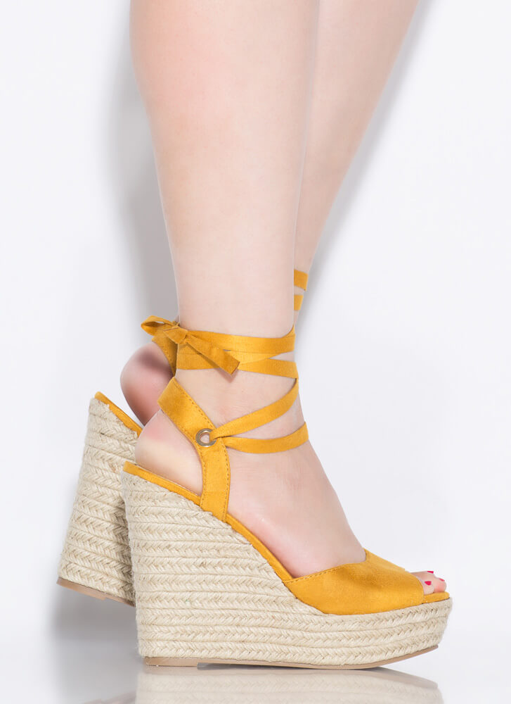 Villa Lace-Up Espadrille Wedges YELLOW