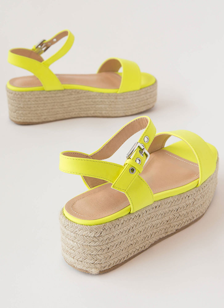 Beach House Braided Wedge Sandals NYELLOW