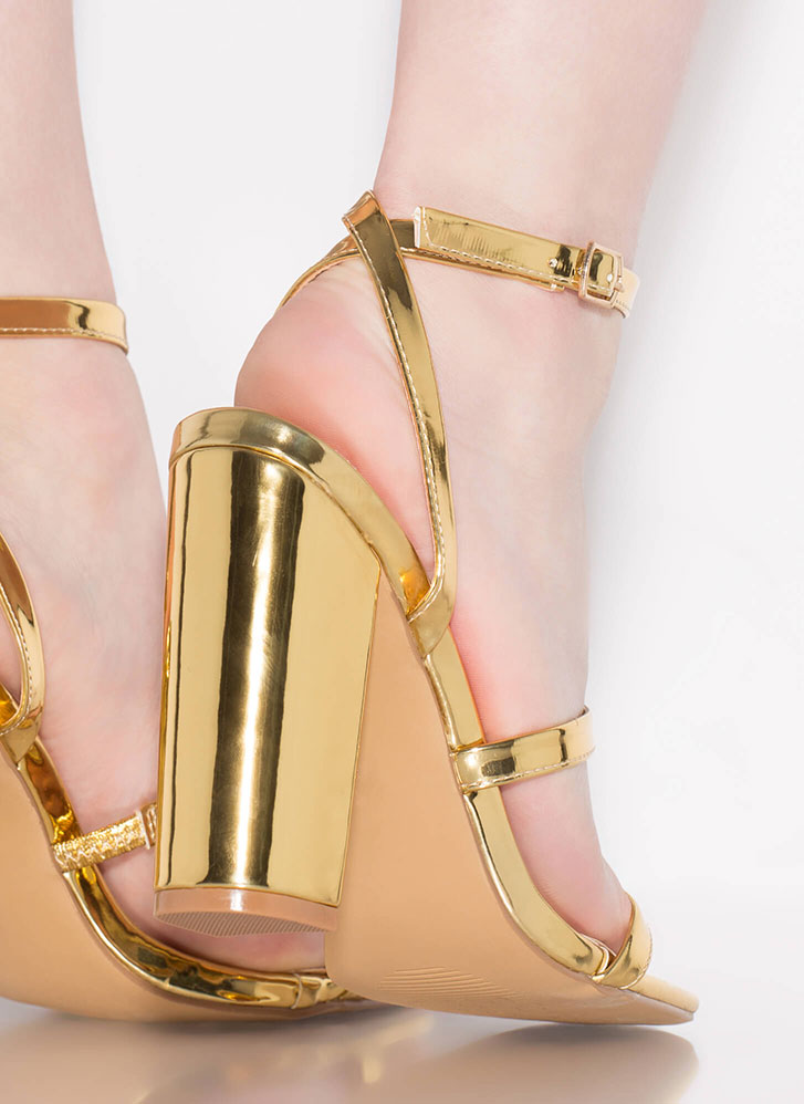 Pursuit Of Strappiness Metallic Heels GOLD (Final Sale)