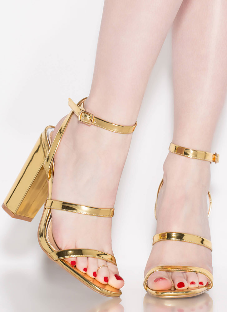 Pursuit Of Strappiness Metallic Heels GOLD