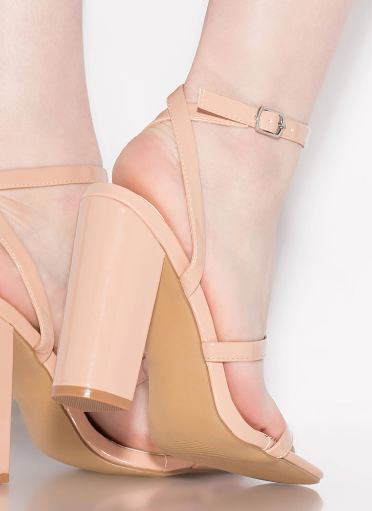 Pursuit Of Strappiness Faux Patent Heels NUDE