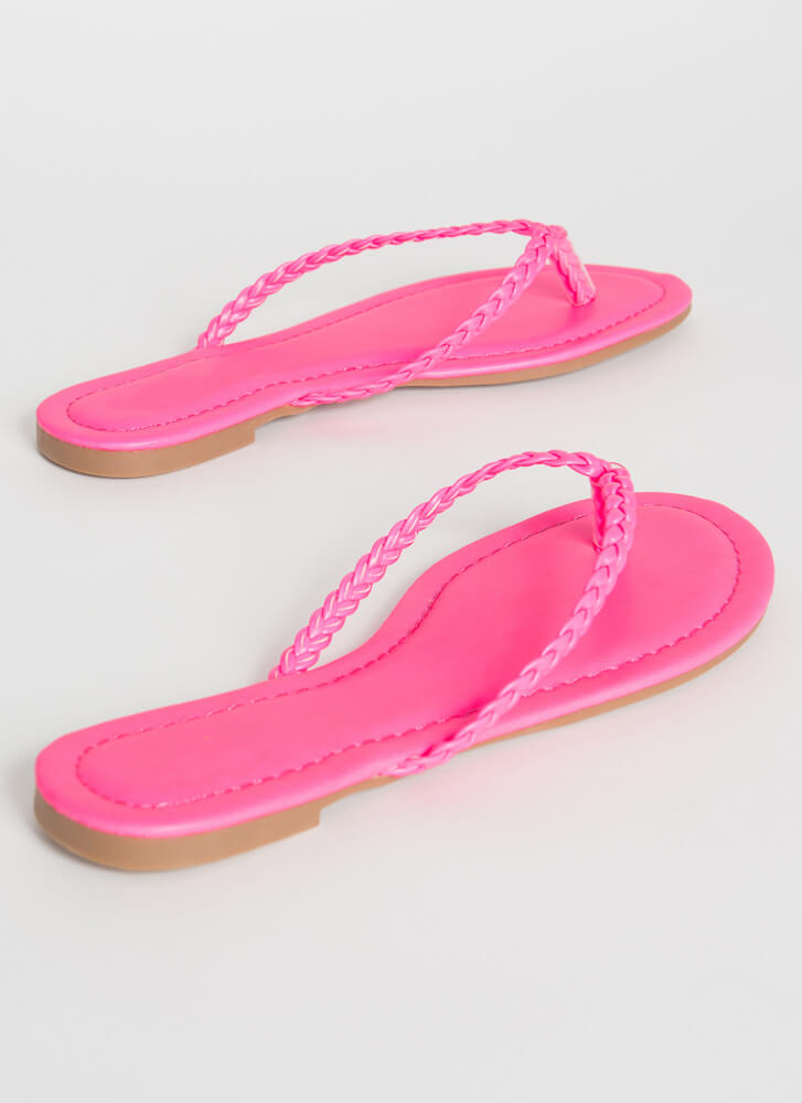 In Braids Faux Leather Thong Sandals PINK