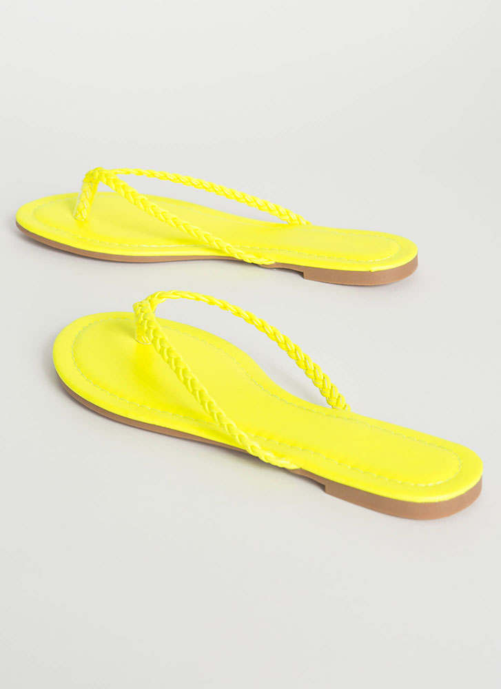 In Braids Faux Leather Thong Sandals YELLOW