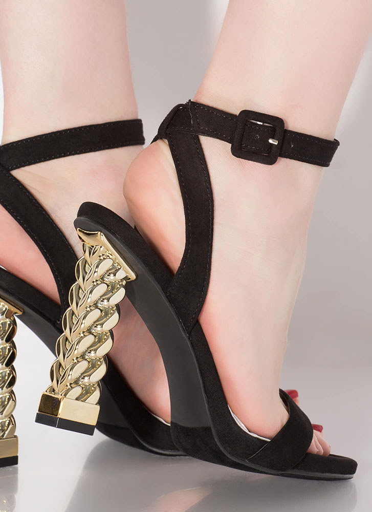 Chain Reaction Chunky Strappy Heels BLACK