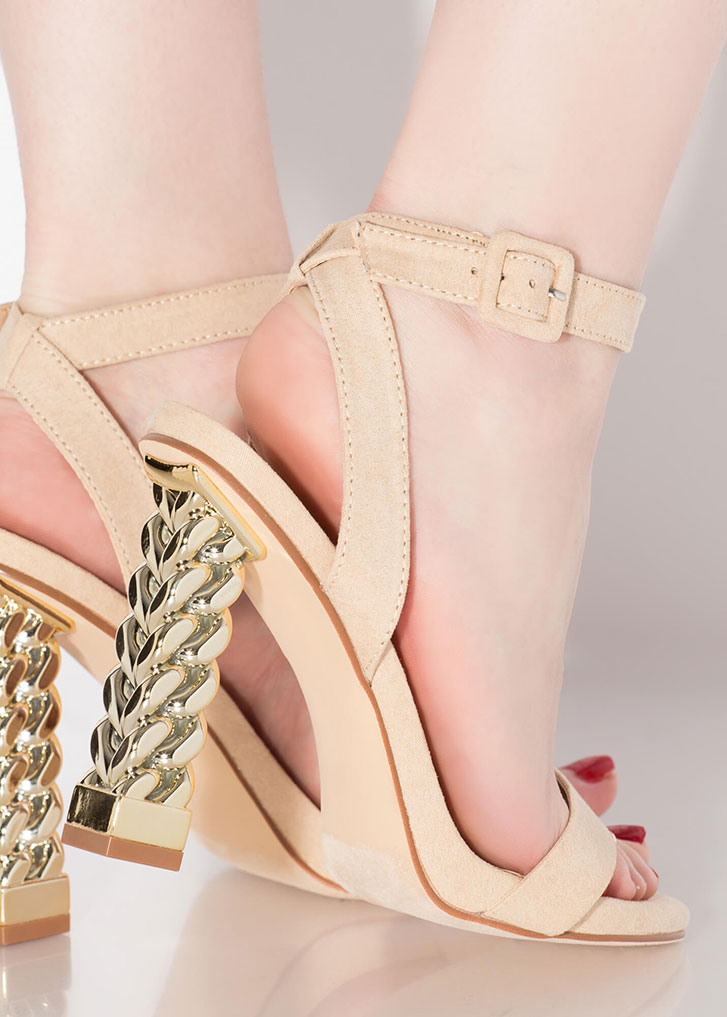 Chain Reaction Chunky Strappy Heels NUDE